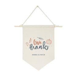 Personalized Couple Names Give Thanks Hanging Wall Banner