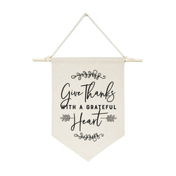 Give Thanks with a Grateful Heart Hanging Wall Banner - The Cotton and Canvas Co.