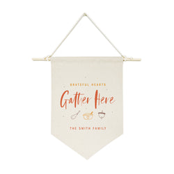 Personalized Family Last Name Grateful Hearts Gather Here Hanging Wall Banner