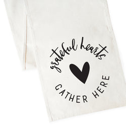 Grateful Hearts Gather Here Cotton Canvas Table Runner - The Cotton and Canvas Co.
