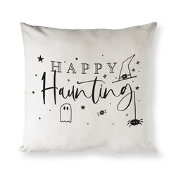 Happy Haunting Cotton Canvas Halloween Pillow Cover - The Cotton and Canvas Co.