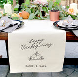 Personalized Couple Names Happy Thanksgiving Canvas Table Runner - The Cotton and Canvas Co.
