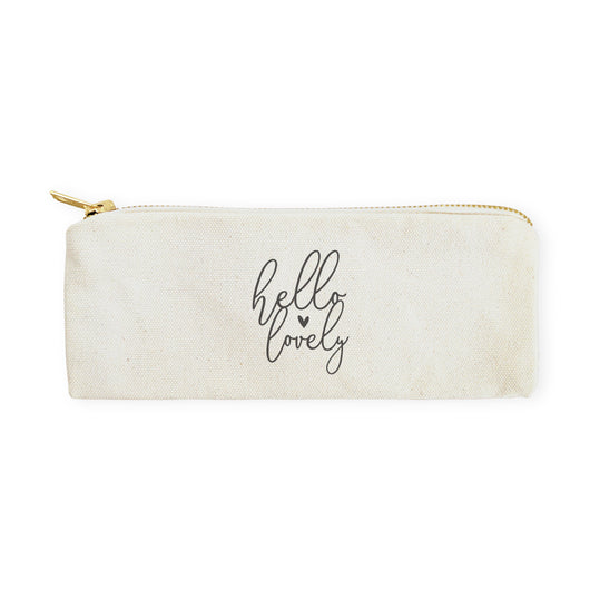 Hello Lovely Cotton Canvas Pencil Case and Travel Pouch - The Cotton and Canvas Co.
