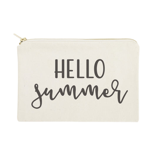 Hello Summer Cotton Canvas Cosmetic Bag - The Cotton and Canvas Co.