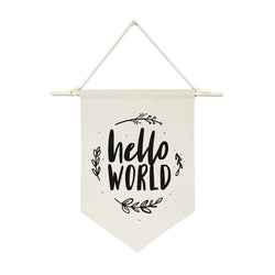 Hello World with Vines Hanging Wall Banner - The Cotton and Canvas Co.