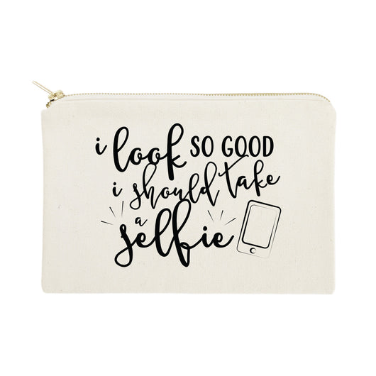 I Look So Good I Should Take A Selfie Cotton Canvas Cosmetic Bag - The Cotton and Canvas Co.