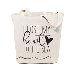 I Lost My Heart to the Sea Cotton Canvas Tote Bag - The Cotton and Canvas Co.
