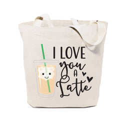 I Love You a Latte Cotton Canvas Tote Bag - The Cotton and Canvas Co.