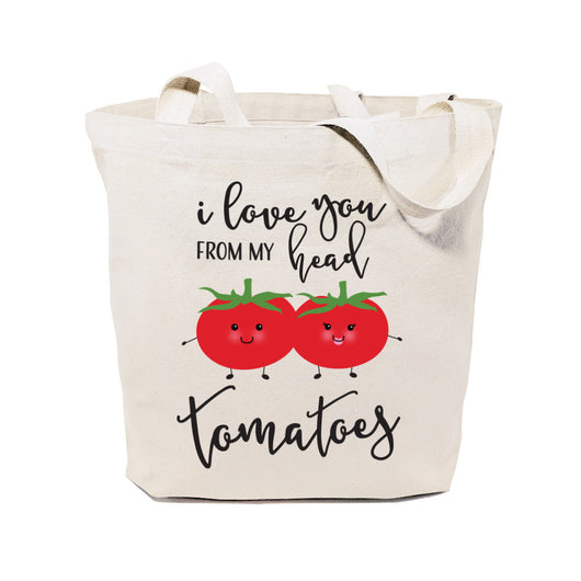 I Love You From My Head Tomatoes Cotton Canvas Tote Bag - The Cotton and Canvas Co.