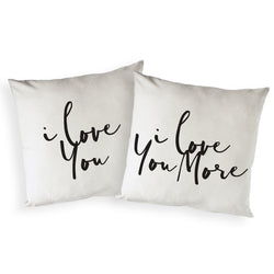 I Love You and I Love You More Pillow Covers, 2-Pack - The Cotton and Canvas Co.