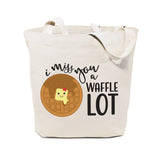 I Miss You A Waffle Lot Cotton Canvas Tote Bag - The Cotton and Canvas Co.