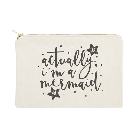 Actually, I'm a Mermaid Cotton Canvas Cosmetic Bag - The Cotton and Canvas Co.