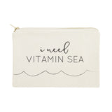 I Need Vitamin Sea Cotton Canvas Cosmetic Bag - The Cotton and Canvas Co.