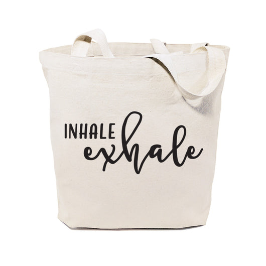 Inhale and Exhale Cotton Canvas Tote Bag - The Cotton and Canvas Co.