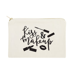 Kiss & Make Up Cotton Canvas Cosmetic Bag - The Cotton and Canvas Co.