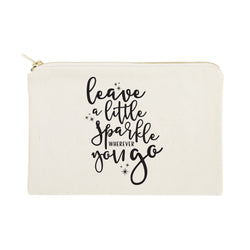 Leave a Little Sparkle Wherever You Go Cotton Canvas Cosmetic Bag - The Cotton and Canvas Co.