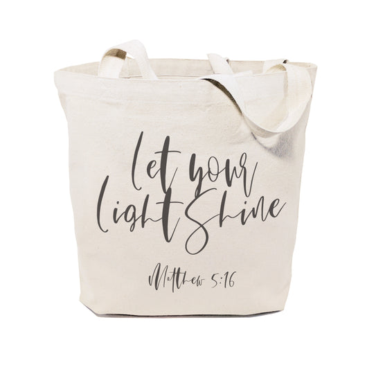 Let Your Light Shine, Matthew 5:16 Cotton Canvas Tote Bag - The Cotton and Canvas Co.
