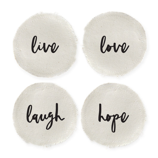 Live, Love, Laugh, and Hope Cotton Canvas Drink Coasters, Set of 4 - The Cotton and Canvas Co.