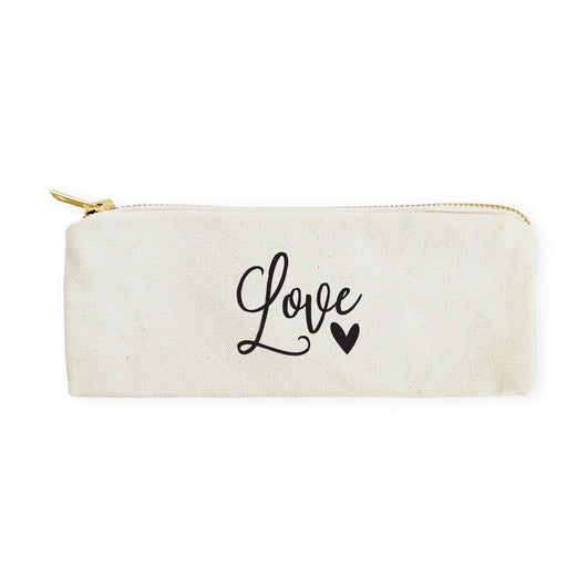 Love Cotton Canvas Pencil Case and Travel Pouch - The Cotton and Canvas Co.