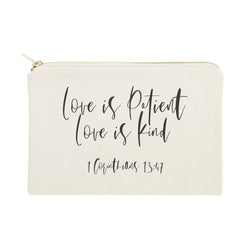 Love is Patient Love is Kind Cotton Canvas Cosmetic Bag - The Cotton and Canvas Co.