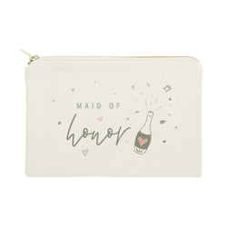 Champagne Bottle Maid of Honor Cotton Canvas Cosmetic Bag - The Cotton and Canvas Co.