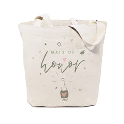 Champagne Celebration Maid of Honor Wedding Cotton Canvas Tote Bag - The Cotton and Canvas Co.