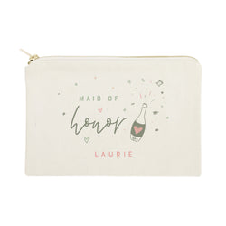 Champagne Celebration Maid of Honor Personalized Cotton Canvas Cosmetic Bag - The Cotton and Canvas Co.