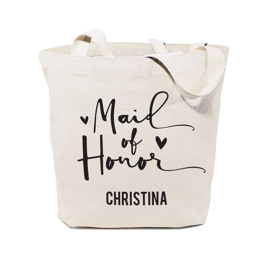 Maid of Honor Personalized Wedding Cotton Canvas Tote Bag - The Cotton and Canvas Co.