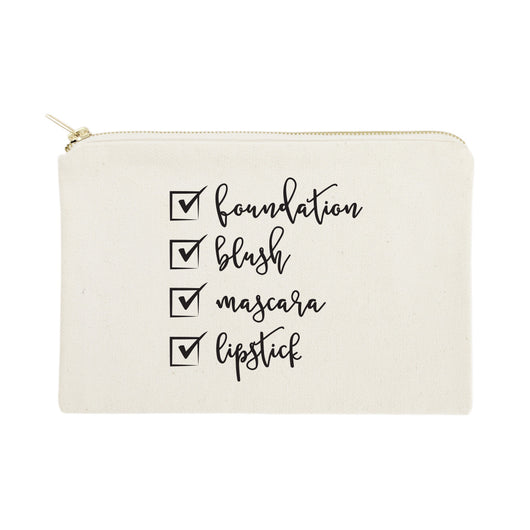 Make Up Check List Cotton Canvas Cosmetic Bag - The Cotton and Canvas Co.