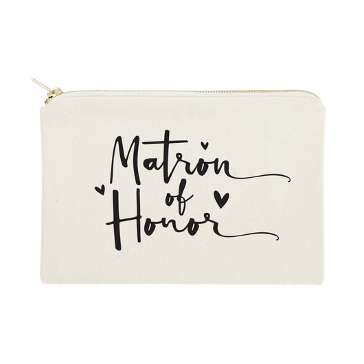 Matron of Honor Cotton Canvas Cosmetic Bag - The Cotton and Canvas Co.