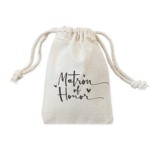 Matron of Honor Cotton Canvas Wedding Favor Bags, 6-Pack - The Cotton and Canvas Co.