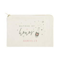 Champagne Celebration Matron of Honor Personalized Cotton Canvas Cosmetic Bag - The Cotton and Canvas Co.
