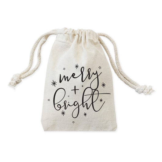 Merry and Bright Cotton Canvas Christmas Holiday Favor Bags, 6-Pack - The Cotton and Canvas Co.
