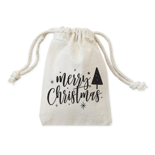 Merry Christmas Cotton Canvas Holiday Favor Bags, 6-Pack - The Cotton and Canvas Co.