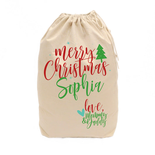 Personalized Love Mommy and Daddy Santa Sack - The Cotton and Canvas Co.
