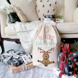 Personalized First Christmas Reindeer Santa Sack
