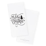 Merry Christmas Cotton Canvas Kitchen Tea Towel - The Cotton and Canvas Co.