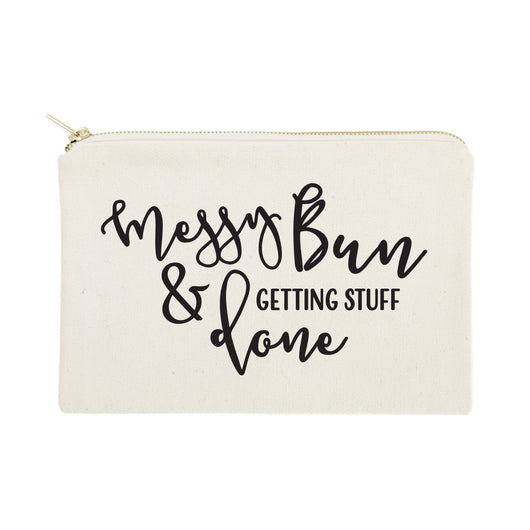 Messy Bun and Getting Stuff Done Cotton Canvas Cosmetic Bag - The Cotton and Canvas Co.
