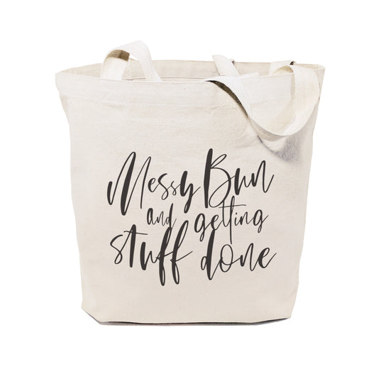 Messy Bun and Getting Stuff Done Cotton Canvas Tote Bag - The Cotton and Canvas Co.