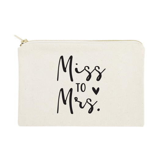 Miss to Mrs. Cotton Canvas Cosmetic Bag - The Cotton and Canvas Co.