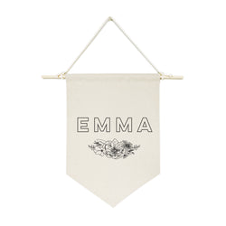 Personalized Name with Florals Hanging Wall Banner