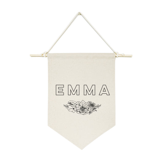 personalized name with florals hanging wall banner the cotton and