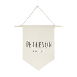 Personalized Family Name with Est. Date Modern Hanging Wall Banner - The Cotton and Canvas Co.