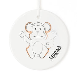 Personalized Name Monkey Christmas Ornament - The Cotton and Canvas Co.