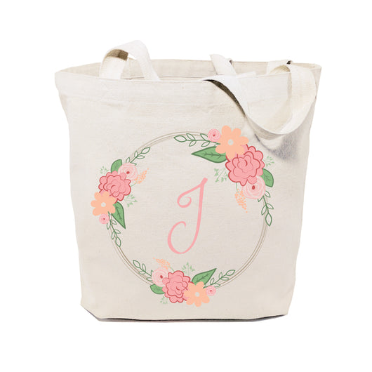 Personalized Colored Monogram Floral Cotton Canvas Tote Bag - The Cotton and Canvas Co.