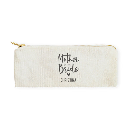 Mother of the Bride Personalized Cotton Canvas Pencil Case and Travel Pouch - The Cotton and Canvas Co.