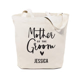 Mother of the Groom Personalized Wedding Cotton Canvas Tote Bag - The Cotton and Canvas Co.