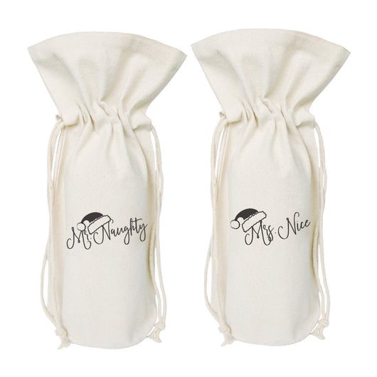 Mr. Naughty and Mrs. Nice Christmas Cotton Canvas Wine Bag - The Cotton and Canvas Co.