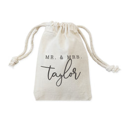 Personalized Mr. & Mrs. with Name Wedding Favor Bags, 6-Pack - The Cotton and Canvas Co.