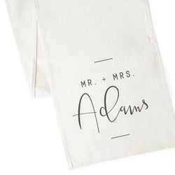 Personalized Mr. & Mrs. with Last Name Canvas Table Runner - The Cotton and Canvas Co.
